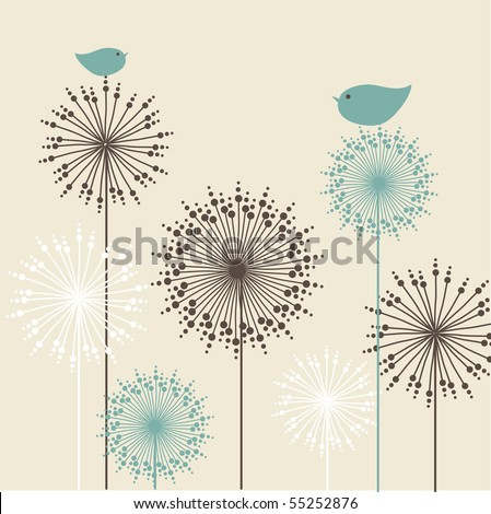 Vintage  background with birds and flowers - stock vector