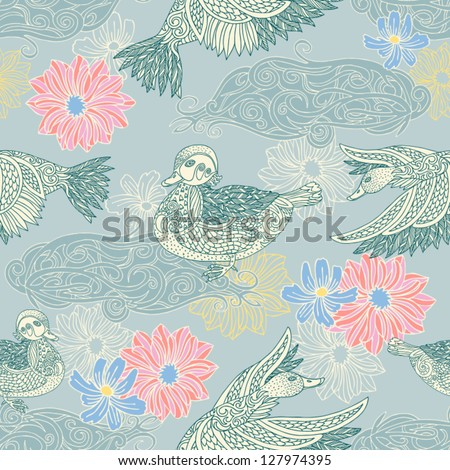 Vintage background with birds and flowers, fashion seamless pattern, colorful vector wallpaper, retro style graphic wrapping, duck, lake, flowers ornament, swatch fabric, artistic decor - stock vector