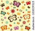 vintage background with butterflies - stock vector