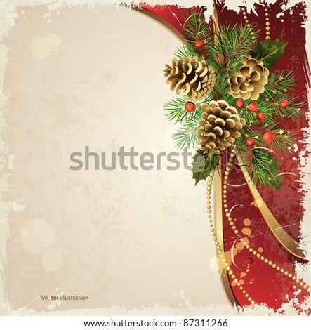 vintage  background  with Christmas fir tree and cones - stock vector