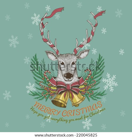 Vintage background with christmas santa reindeer. Hand-drawn card.