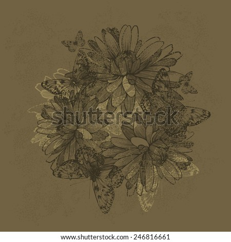 Vintage background with chrysantemums and butterflies, hand-drawing. Vector illustration. - stock vector