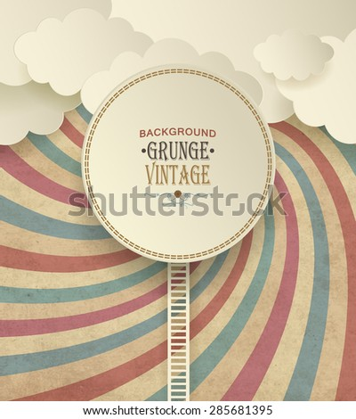 Vintage Background With Clouds And Colorful Striped Radiate Pattern - stock vector
