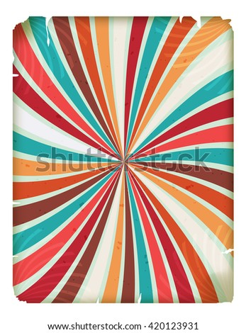Vintage background with colored rays. Retro circus background with grunge. Element circus poster. Vector blank header for flyers, announcements, advertisements, posters. Stock vector - stock vector