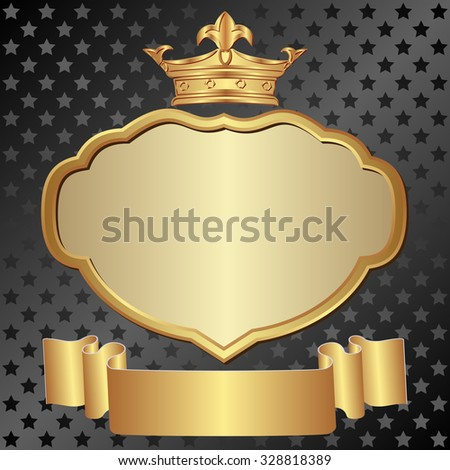 vintage background with crown, ribbon and and stars pattern - stock vector