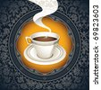Vintage background with cup of coffee. Vector illustration. - stock photo