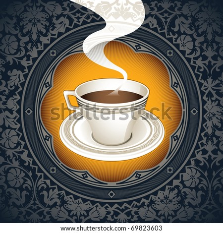 Vintage background with cup of coffee. Vector illustration. - stock vector