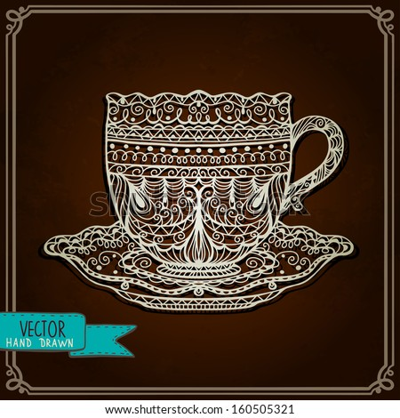 Vintage background with cup - vector - stock vector