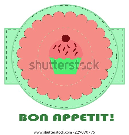 Vintage background with cupcake - stock vector