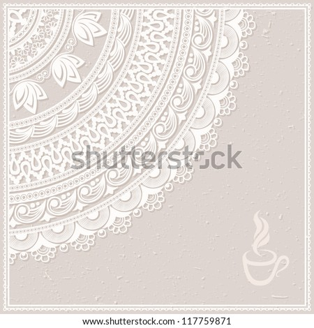 Vintage background with decorative frame, made of ornamental pattern. EPS-8. . Original author's design, hand-drawn. - stock vector