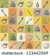 Vintage background with different kitchen utensils - stock vector