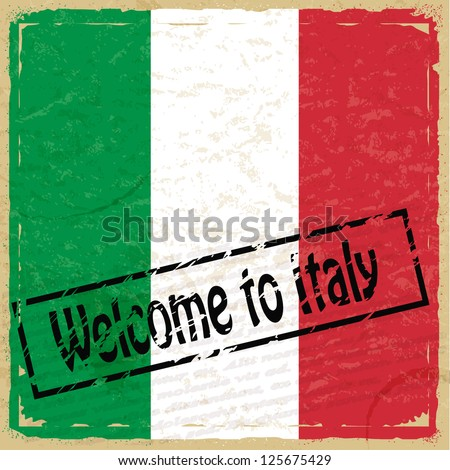 Vintage background with flag of Italy - stock vector