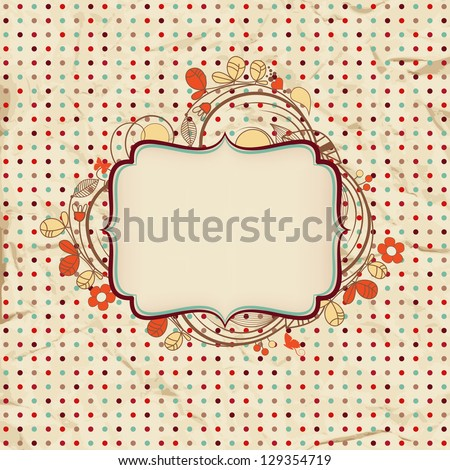 Vintage background with floral frame for text - stock vector