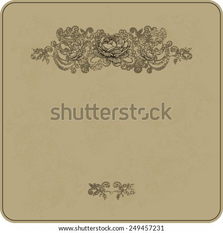 Vintage background with floral ornament and roses. Vector illustration. - stock vector