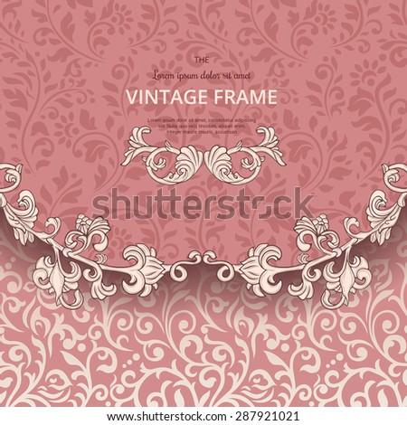 Vintage background with flourish border - stock vector