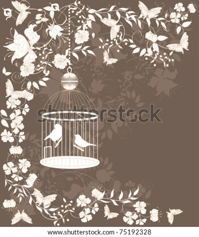 Vintage background with flowers and birds in cage. - stock vector
