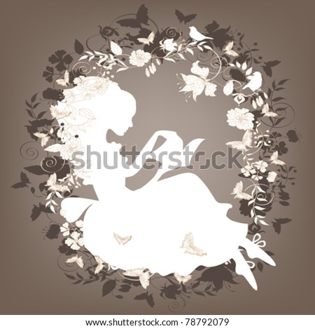 Vintage background with flowers, bird and girl reading book silhouette. - stock vector