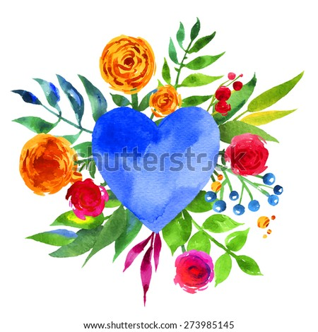 Vintage background with flowers in love and flower heart, Beautiful watercolor floral heart. Love Heart icon. Summer botanical elements. Love card with watercolor floral bouquet. - stock vector