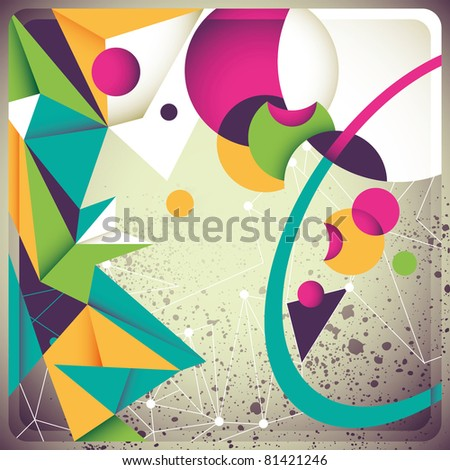 Vintage background with futuristic abstraction. Vector illustration. - stock vector