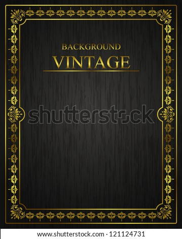Vintage background with golden elements - stock vector