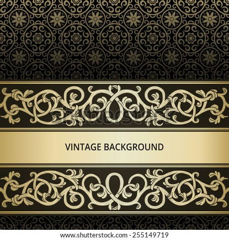 Vintage background with golden flourish element - stock vector