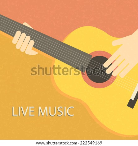 Vintage background with guitar player, vector illustration.  - stock vector