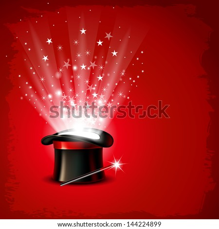 Vintage background with magician hat, wand and magical glow - stock vector