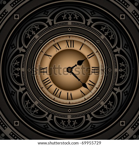 Vintage background with old clock. Vector illustration. - stock vector
