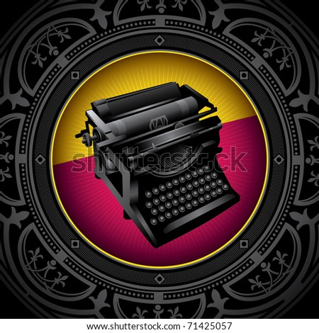Vintage background with old typewriting machine. Vector illustration. - stock vector