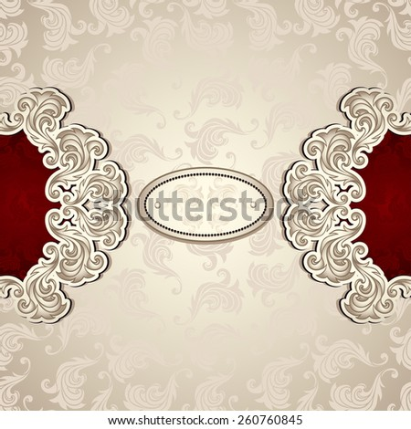 Vintage background with pattern in pearly beige and red colors for invitation or congratulation or for package perfume, cosmetic, jewelry, sweets, tea or for label Wine, vodka  - stock vector