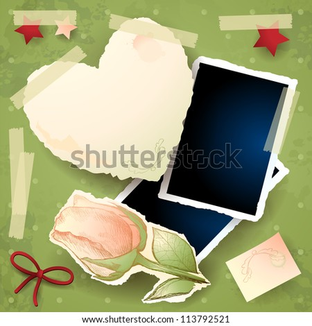 Vintage background with photo frames, vector - stock vector