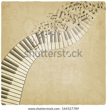 Vintage background with piano - vector illustration - stock vector