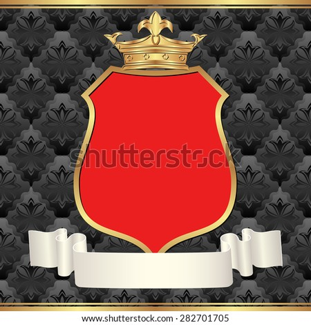 vintage background with red frame and crown - stock vector
