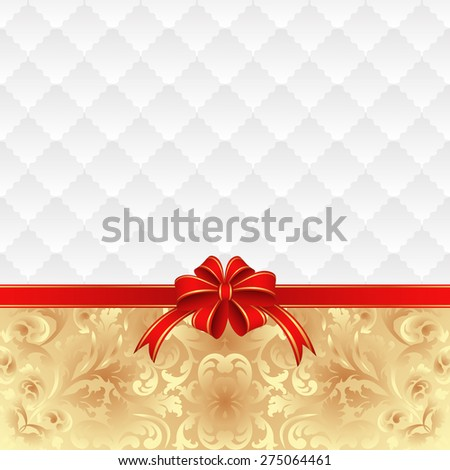 vintage background with red ribbon - stock vector