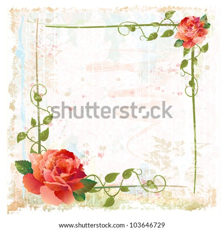 vintage background with red roses and ivy - stock vector
