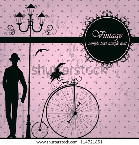 Vintage background with retro bicycle - stock vector