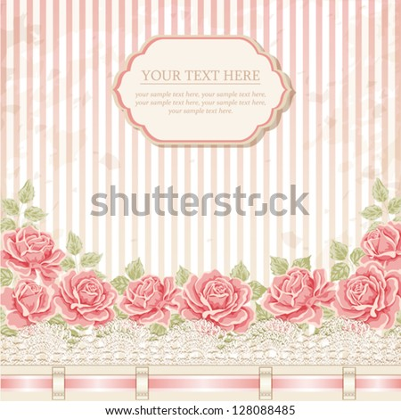 Vintage background with roses. Greeting card - stock vector