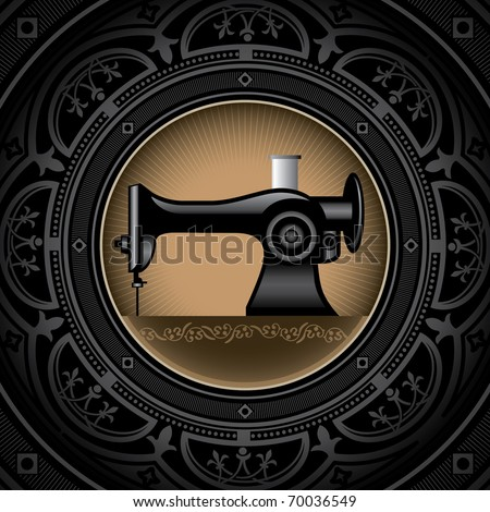 Vintage background with sewing machine. Vector illustration. - stock vector