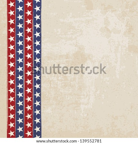 Vintage background with stripes and stars - vector illustration - stock vector
