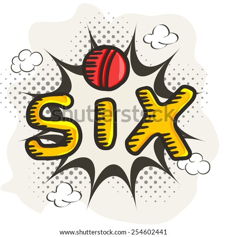 Vintage background with stylish text Six (Shot of Cricket) and red ball.  - stock vector
