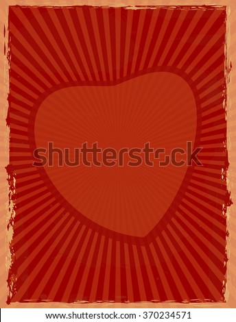 Vintage background with sun rays radiating from the heart. Red retro background with heart. Vector  grunge background for your design.