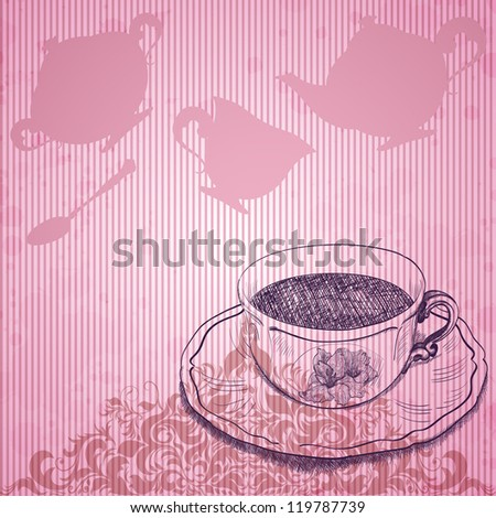 Vintage background with tea cup - stock vector