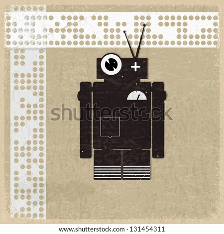 Vintage background with the silhouette of a robot - stock vector