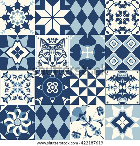 Vintage background with traditional blue tile decoration, classic mosaic style. - stock vector