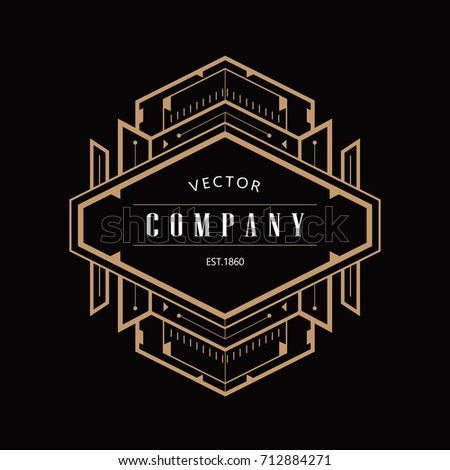 monochrome art deco luxury antique gold stock vector. Black Bedroom Furniture Sets. Home Design Ideas