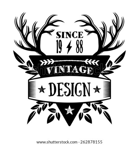 Vintage badge 1. Creative graphic design logo elements. Isolated on white background. Vector illustration. - stock vector