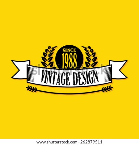 Vintage badge 2. Creative graphic design logo elements. Isolated on yellow background. Vector illustration. - stock vector