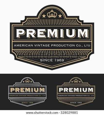 Vintage Badge, label design for Premium Product, Whiskey, Beer, Brewery Brand, Wine or other product. Resizable, free font used. Vector illustration - stock vector