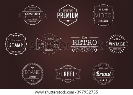 Vintage Badges White Vector Logos - stock vector