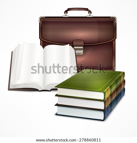 Vintage bag and books on white, vector illustration - stock vector